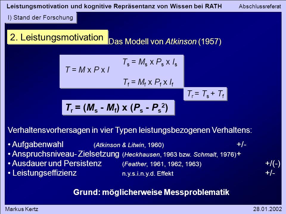 Leistungsmotivation und kognitive Repräsentanz von Wissen bei RATH Abschlussreferat Markus Kertz28.01.2002 I) Stand der Forschung 2.