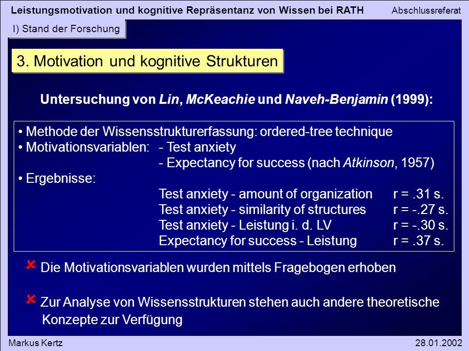 Leistungsmotivation und kognitive Repräsentanz von Wissen bei RATH Abschlussreferat Markus Kertz28.01.2002 I) Stand der Forschung 3. Motivation und ko