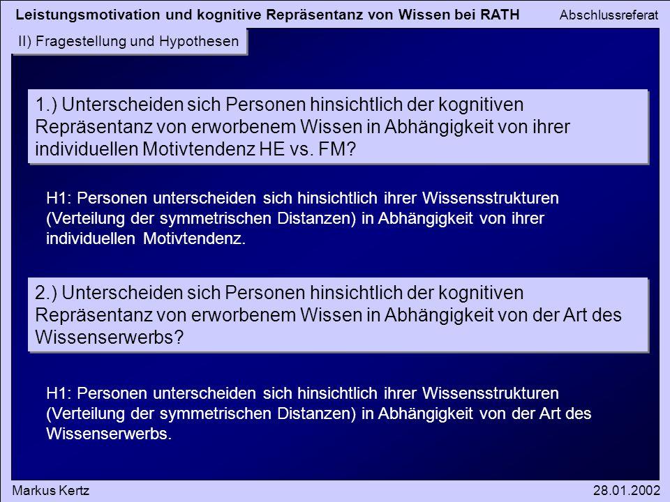 Leistungsmotivation und kognitive Repräsentanz von Wissen bei RATH Abschlussreferat Markus Kertz28.01.2002 II) Fragestellung und Hypothesen 1.) Unters
