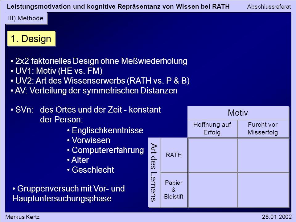 Leistungsmotivation und kognitive Repräsentanz von Wissen bei RATH Abschlussreferat Markus Kertz28.01.2002 III) Methode 1. Design Art des Lernens Moti