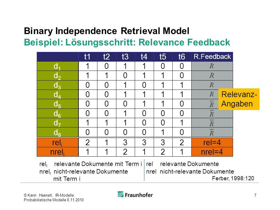 """Binary Independence Retrieval Model Herleitung des Retrievalstatuswertes eines Dokuments – RSV – sim(d m,q k ) (1)  Ziel: Schätzung der Wahrscheinlichkeit, dass  ein spezifisches Dokument d m für  eine Anfrage q k (genauer: für eine Suchsituation s i mit einer Anfrage q k, also eine Instanz einer Anfrage q k ) Relevanz (R) hat  Grundannahme""""Cluster-Hypothese  Terme sind in relevanten und nicht relevanten Dokumenten unterschiedlich verteilt 18 ZielBestimmung von P(R q k,d m ) © Karin Haenelt, IR-Modelle: Probabilistische Modelle 6.11.2010"""
