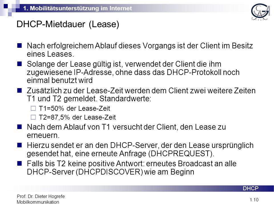 1. Mobilitätsunterstützung im Internet 1.10 Prof. Dr. Dieter Hogrefe Mobilkommunikation DHCP-Mietdauer (Lease) DHCP Nach erfolgreichem Ablauf dieses V