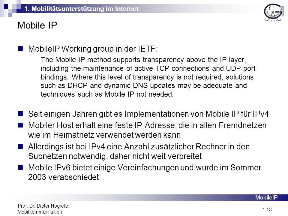 1. Mobilitätsunterstützung im Internet 1.13 Prof.