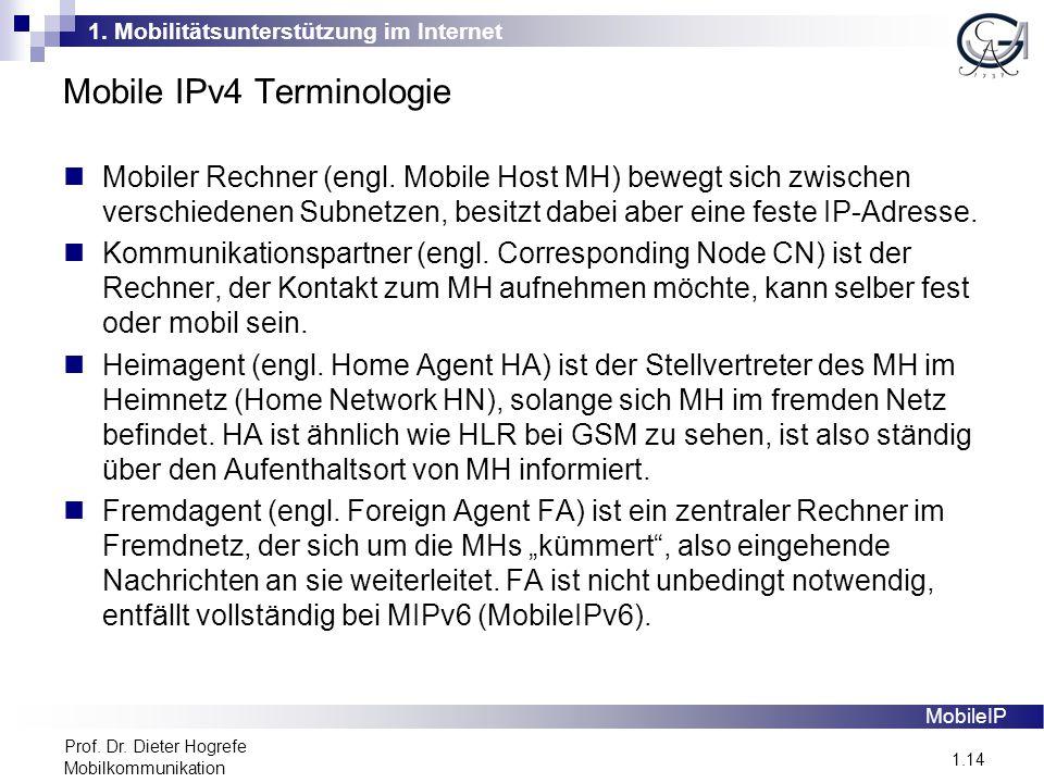 1. Mobilitätsunterstützung im Internet 1.14 Prof. Dr. Dieter Hogrefe Mobilkommunikation Mobile IPv4 Terminologie MobileIP Mobiler Rechner (engl. Mobil