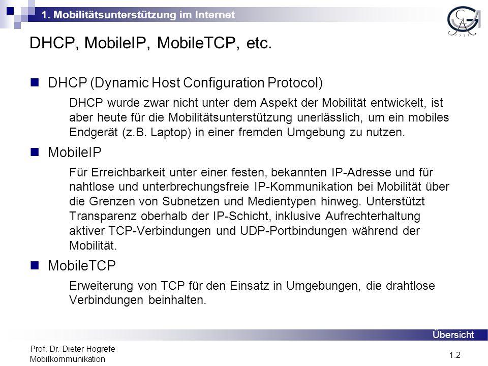 1. Mobilitätsunterstützung im Internet 1.2 Prof. Dr. Dieter Hogrefe Mobilkommunikation DHCP, MobileIP, MobileTCP, etc. DHCP (Dynamic Host Configuratio