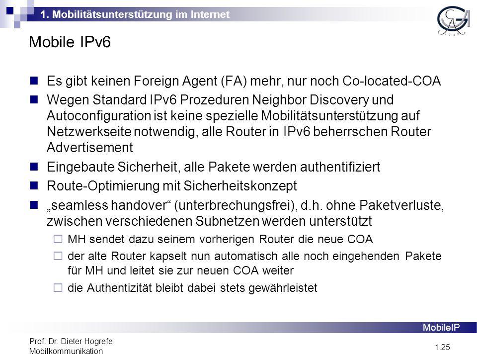 1. Mobilitätsunterstützung im Internet 1.25 Prof. Dr. Dieter Hogrefe Mobilkommunikation Mobile IPv6 MobileIP Es gibt keinen Foreign Agent (FA) mehr, n