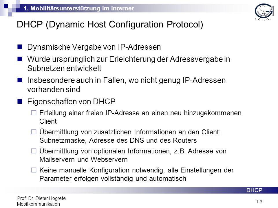 1. Mobilitätsunterstützung im Internet 1.3 Prof. Dr. Dieter Hogrefe Mobilkommunikation DHCP (Dynamic Host Configuration Protocol) Dynamische Vergabe v