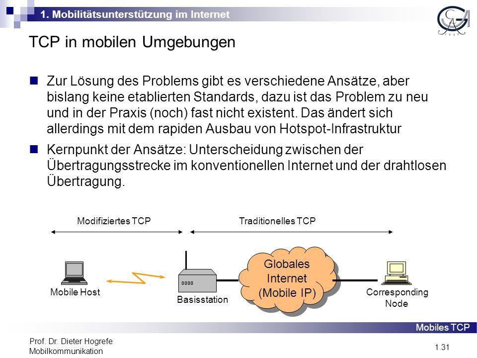 1. Mobilitätsunterstützung im Internet 1.31 Prof. Dr. Dieter Hogrefe Mobilkommunikation TCP in mobilen Umgebungen Zur Lösung des Problems gibt es vers