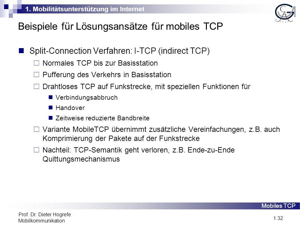 1. Mobilitätsunterstützung im Internet 1.32 Prof. Dr. Dieter Hogrefe Mobilkommunikation Beispiele für Lösungsansätze für mobiles TCP Split-Connection