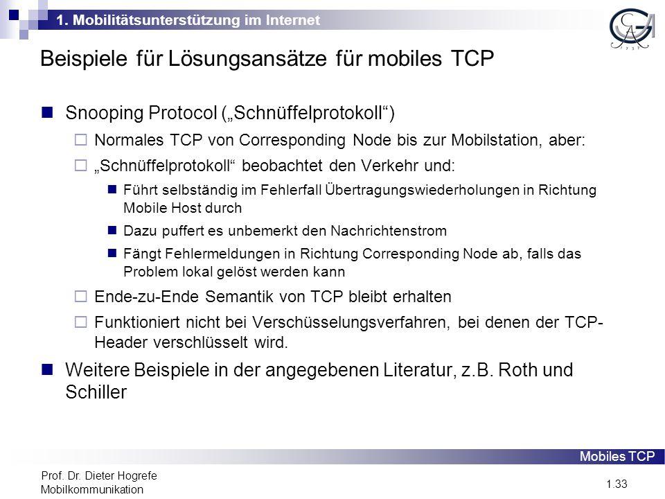 1. Mobilitätsunterstützung im Internet 1.33 Prof. Dr. Dieter Hogrefe Mobilkommunikation Beispiele für Lösungsansätze für mobiles TCP Snooping Protocol
