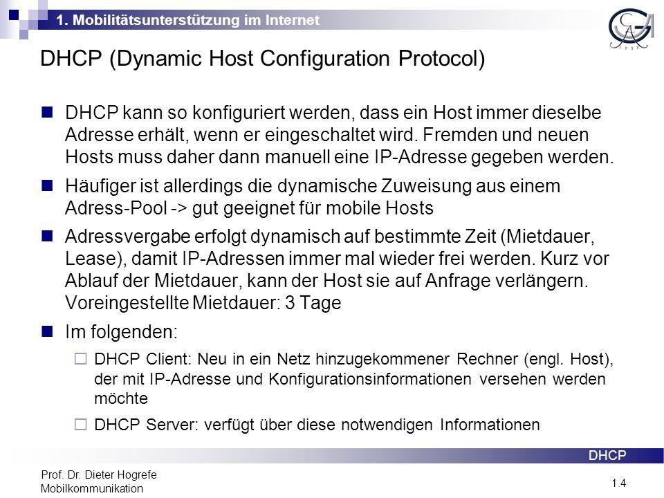 1. Mobilitätsunterstützung im Internet 1.4 Prof. Dr. Dieter Hogrefe Mobilkommunikation DHCP (Dynamic Host Configuration Protocol) DHCP kann so konfigu