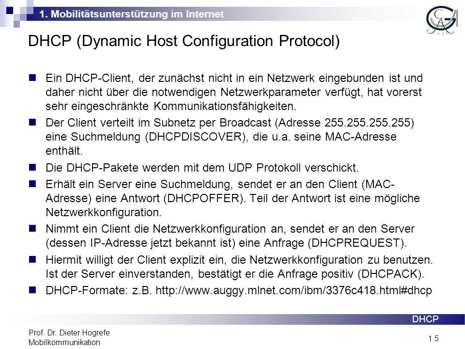 1. Mobilitätsunterstützung im Internet 1.5 Prof. Dr. Dieter Hogrefe Mobilkommunikation DHCP (Dynamic Host Configuration Protocol) Ein DHCP-Client, der