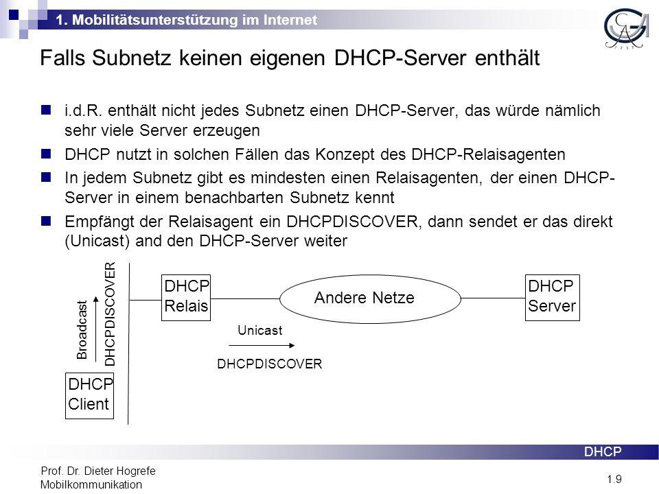 1. Mobilitätsunterstützung im Internet 1.9 Prof. Dr. Dieter Hogrefe Mobilkommunikation Falls Subnetz keinen eigenen DHCP-Server enthält DHCP i.d.R. en