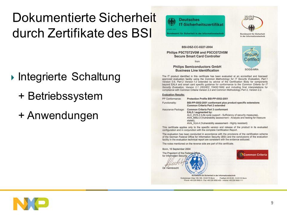 9 Dokumentierte Sicherheit durch Zertifikate des BSI Integrierte Schaltung + Betriebssystem + Anwendungen