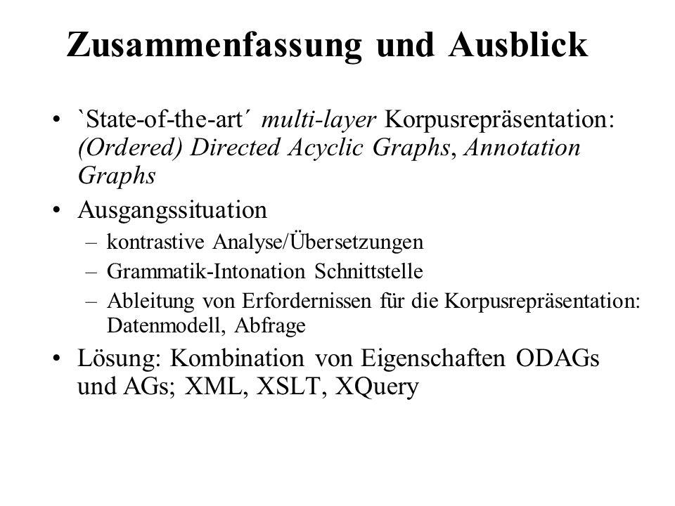 Zusammenfassung und Ausblick `State-of-the-art´ multi-layer Korpusrepräsentation: (Ordered) Directed Acyclic Graphs, Annotation Graphs Ausgangssituati