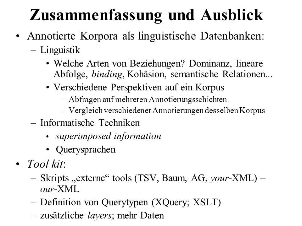 Zusammenfassung und Ausblick Annotierte Korpora als linguistische Datenbanken: –Linguistik Welche Arten von Beziehungen? Dominanz, lineare Abfolge, bi