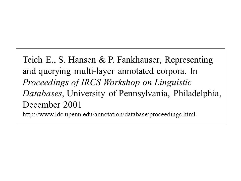 Teich E., S.Hansen & P. Fankhauser, Representing and querying multi-layer annotated corpora.