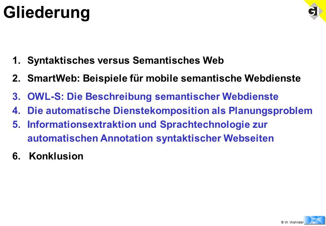 © W. Wahlster 1.Syntaktisches versus Semantisches Web 2.SmartWeb: Beispiele für mobile semantische Webdienste 3.OWL-S: Die Beschreibung semantischer W