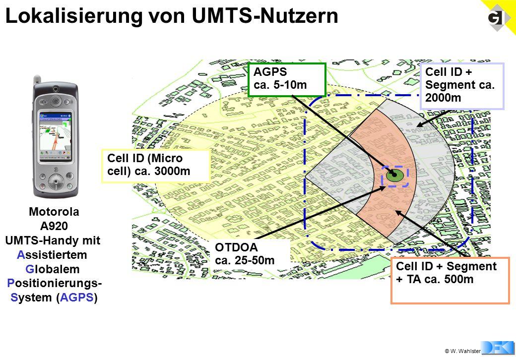 © W. Wahlster Motorola A920 UMTS-Handy mit Assistiertem Globalem Positionierungs- System (AGPS) Lokalisierung von UMTS-Nutzern Cell ID (Micro cell) ca