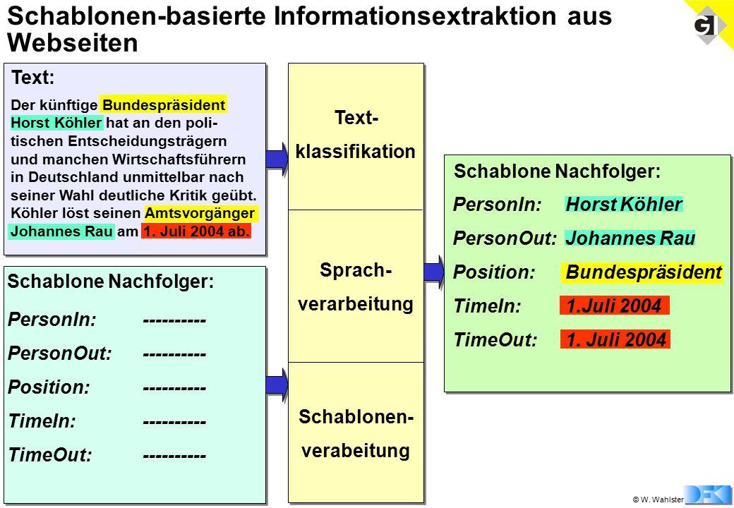 © W. Wahlster Schablonen-basierte Informationsextraktion aus Webseiten Schablone Nachfolger: Der künftige Bundespräsident Horst Köhler hat an den poli