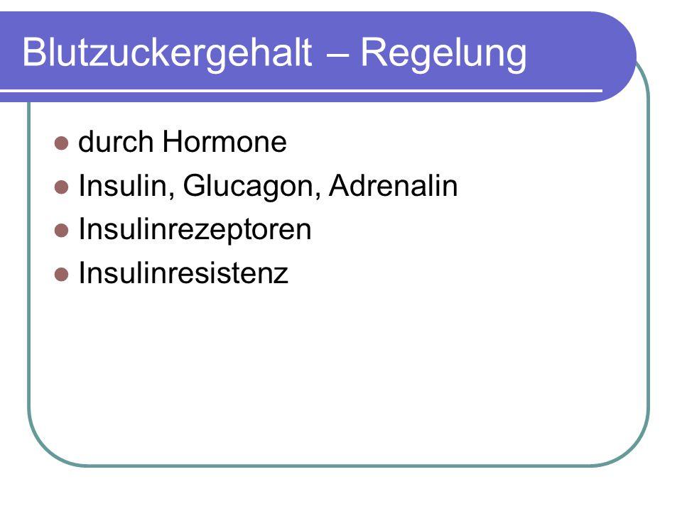 Blutzuckergehalt – Regelung durch Hormone Insulin, Glucagon, Adrenalin Insulinrezeptoren Insulinresistenz