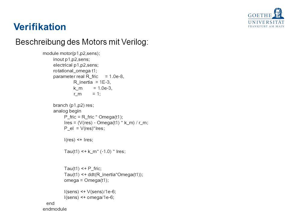 Verifikation Beschreibung des Motors mit Verilog: module motor(p1,p2,sens); inout p1,p2,sens; electrical p1,p2,sens; rotational_omega t1; parameter re