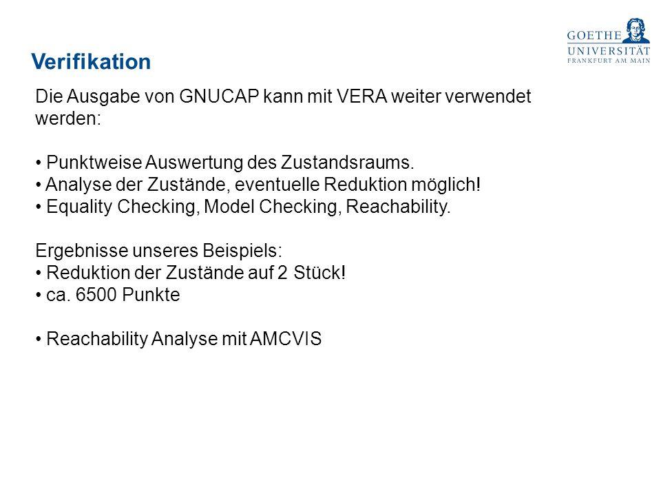 Verifikation Die Ausgabe von GNUCAP kann mit VERA weiter verwendet werden: Punktweise Auswertung des Zustandsraums. Analyse der Zustände, eventuelle R