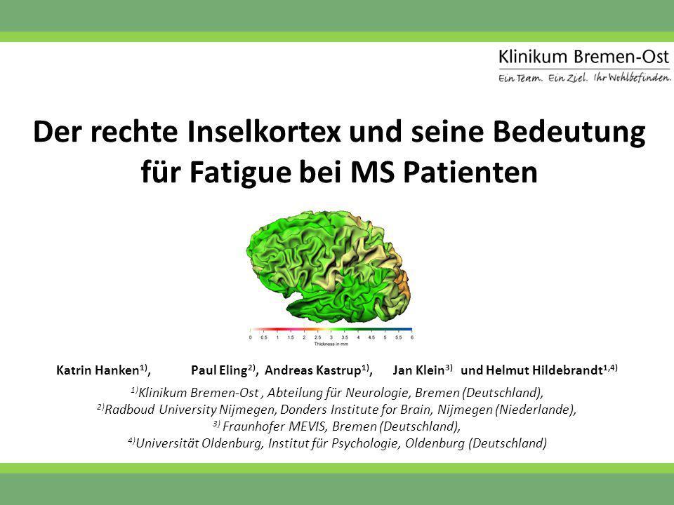 Der rechte Inselkortex und seine Bedeutung für Fatigue bei MS Patienten Katrin Hanken 1),Paul Eling 2), Andreas Kastrup 1),Jan Klein 3) und Helmut Hil