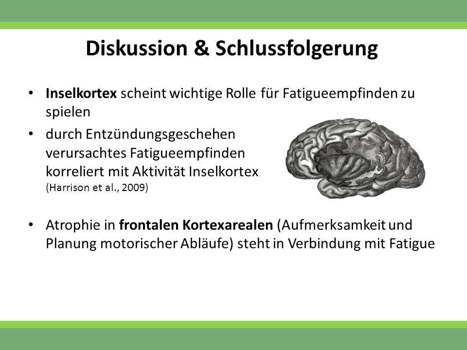 Diskussion & Schlussfolgerung Inselkortex scheint wichtige Rolle für Fatigueempfinden zu spielen durch Entzündungsgeschehen verursachtes Fatigueempfin