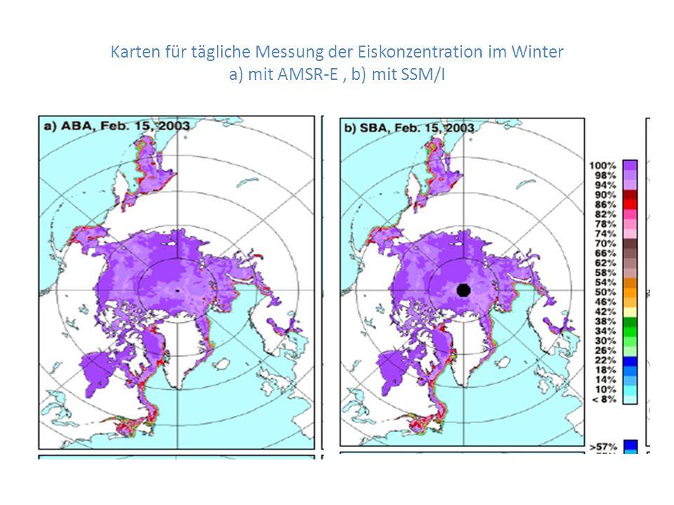 Karten für tägliche Messung der Eiskonzentration im Winter a) mit AMSR-E, b) mit SSM/I