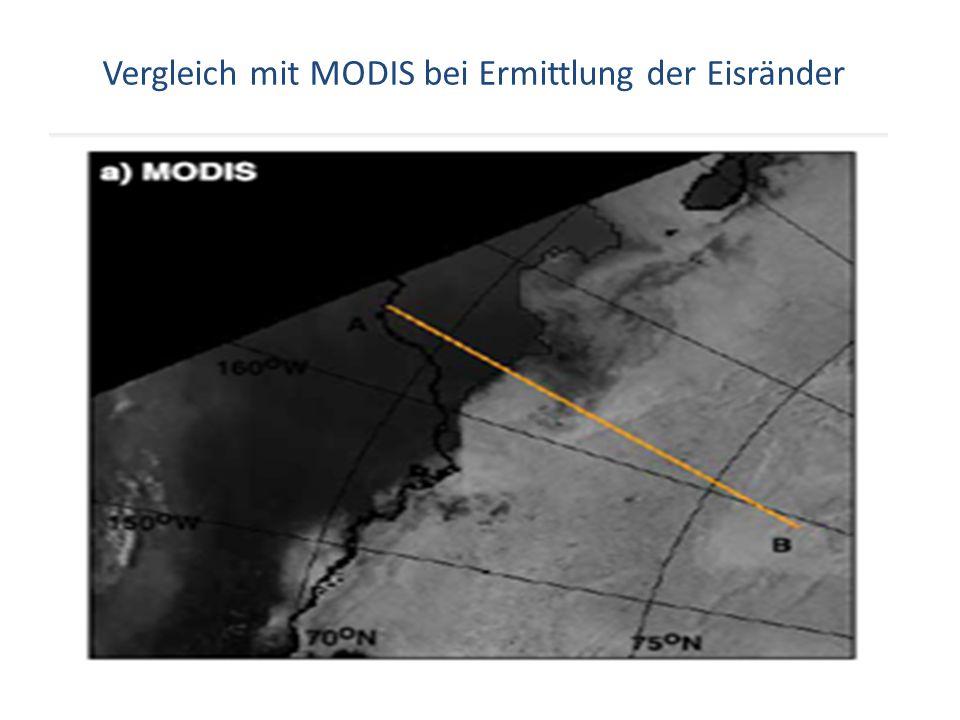 Vergleich mit MODIS bei Ermittlung der Eisränder