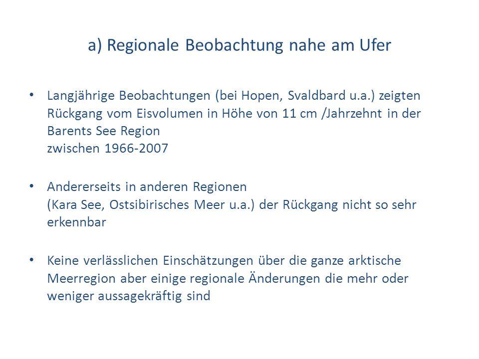 a) Regionale Beobachtung nahe am Ufer Langjährige Beobachtungen (bei Hopen, Svaldbard u.a.) zeigten Rückgang vom Eisvolumen in Höhe von 11 cm /Jahrzeh