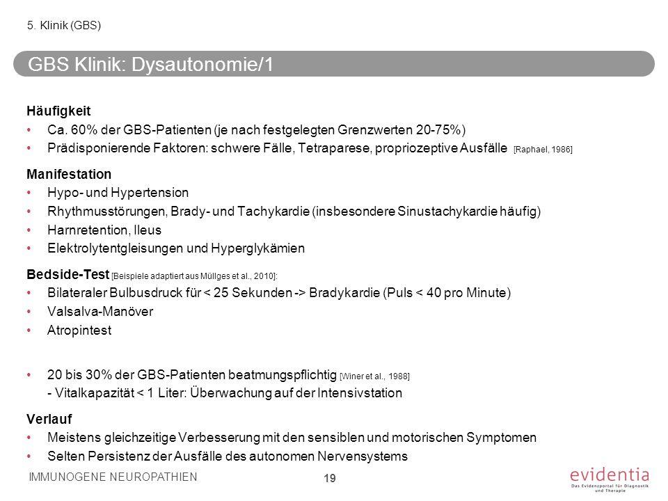 GBS Klinik: Dysautonomie/1 Häufigkeit Ca. 60% der GBS-Patienten (je nach festgelegten Grenzwerten 20-75%) Prädisponierende Faktoren: schwere Fälle, Te