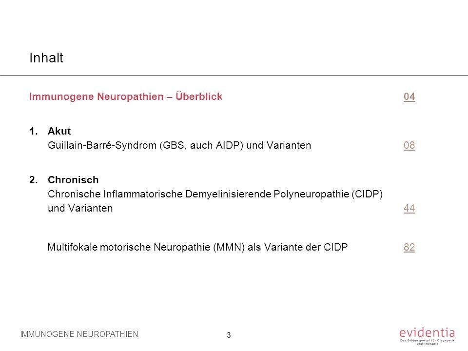 Inhalt Immunogene Neuropathien – Überblick0404 1.Akut Guillain-Barré-Syndrom (GBS, auch AIDP) und Varianten0808 2.Chronisch Chronische Inflammatorisch