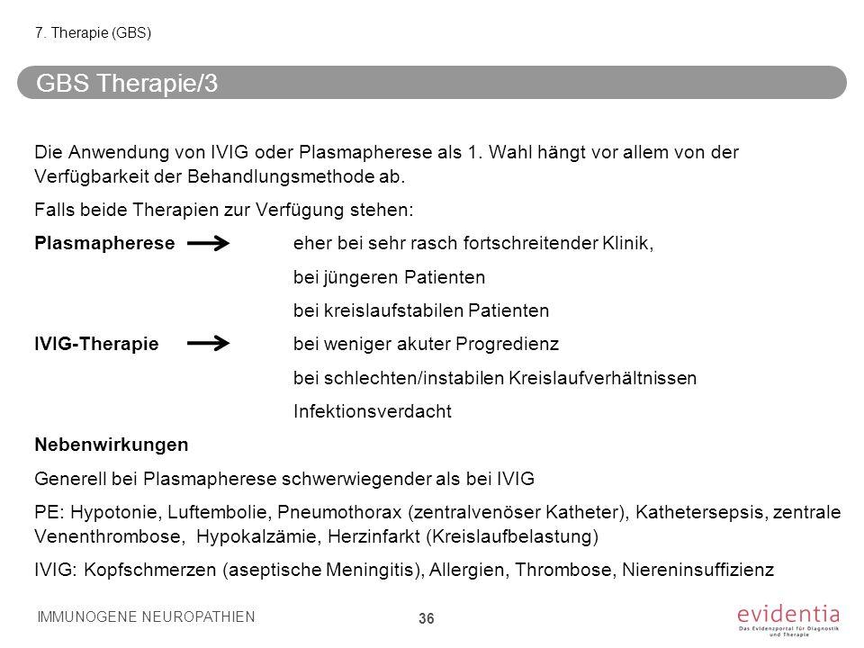 GBS Therapie/3 Die Anwendung von IVIG oder Plasmapherese als 1. Wahl hängt vor allem von der Verfügbarkeit der Behandlungsmethode ab. Falls beide Ther