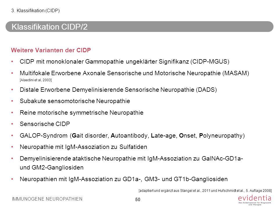 Klassifikation CIDP/2 Weitere Varianten der CIDP CIDP mit monoklonaler Gammopathie ungeklärter Signifikanz (CIDP-MGUS) Multifokale Erworbene Axonale S