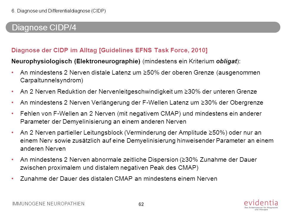 Diagnose CIDP/4 Diagnose der CIDP im Alltag [Guidelines EFNS Task Force, 2010] Neurophysiologisch (Elektroneurographie) (mindestens ein Kriterium obli