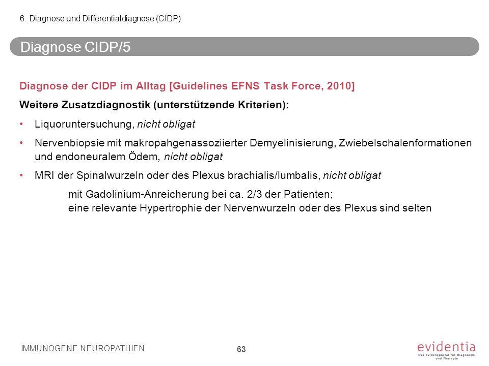 Diagnose CIDP/5 Diagnose der CIDP im Alltag [Guidelines EFNS Task Force, 2010] Weitere Zusatzdiagnostik (unterstützende Kriterien): Liquoruntersuchung