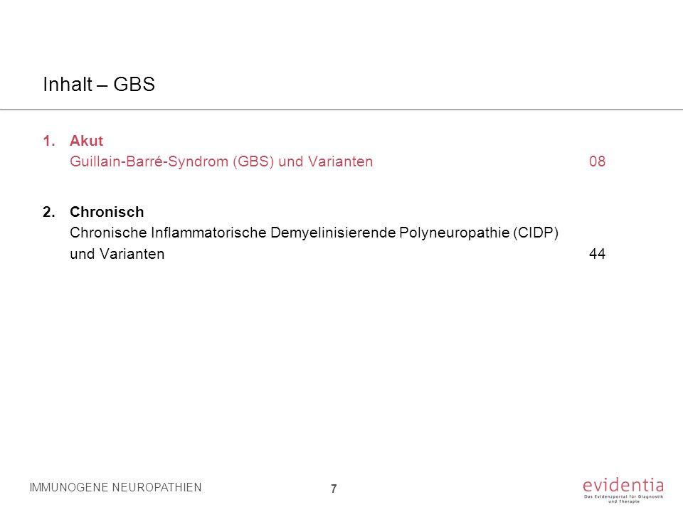 Inhalt – GBS 1.Akut Guillain-Barré-Syndrom (GBS) und Varianten08 2.Chronisch Chronische Inflammatorische Demyelinisierende Polyneuropathie (CIDP) und