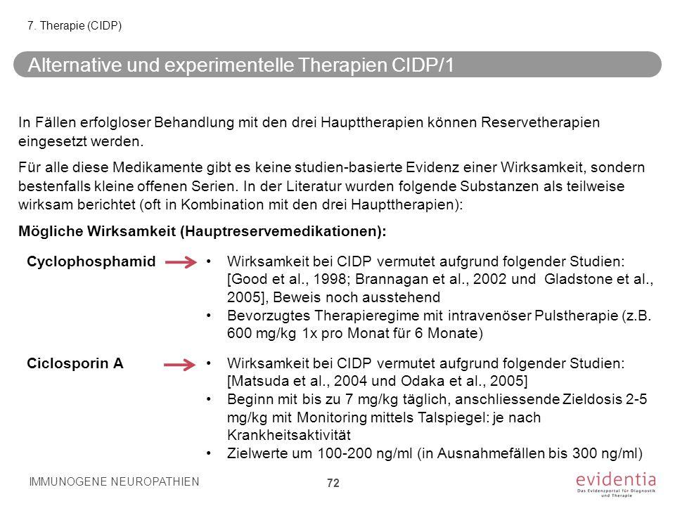 Alternative und experimentelle Therapien CIDP/1 In Fällen erfolgloser Behandlung mit den drei Haupttherapien können Reservetherapien eingesetzt werden