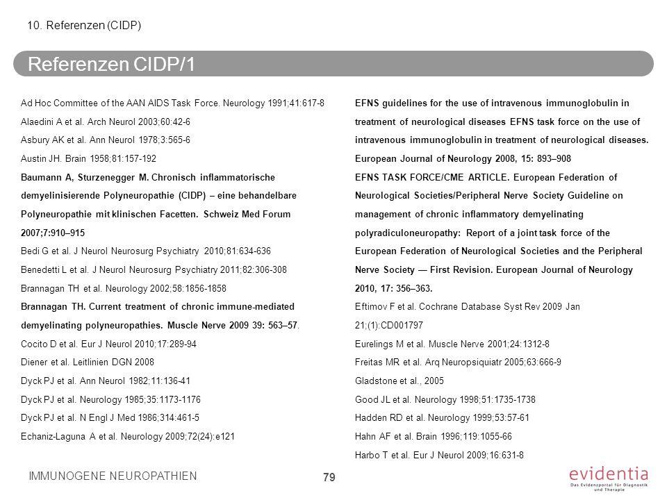 Referenzen CIDP/1 Ad Hoc Committee of the AAN AIDS Task Force. Neurology 1991;41:617-8 Alaedini A et al. Arch Neurol 2003;60:42-6 Asbury AK et al. Ann