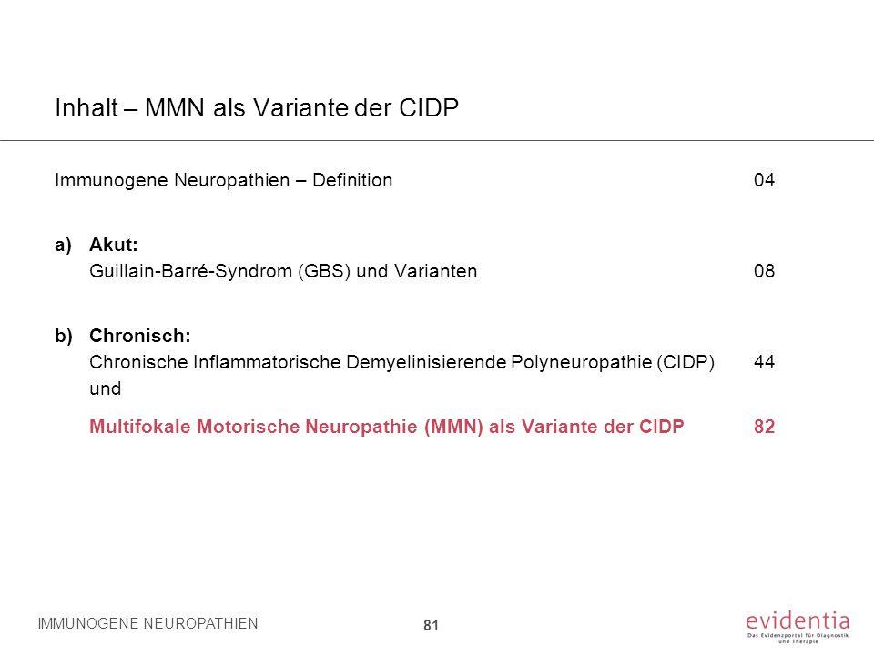 Inhalt – MMN als Variante der CIDP Immunogene Neuropathien – Definition04 a)Akut: Guillain-Barré-Syndrom (GBS) und Varianten08 b)Chronisch: Chronische