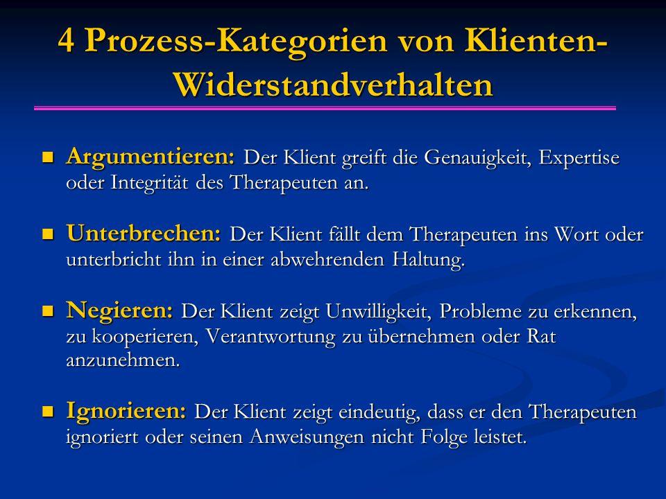 4 Prozess-Kategorien von Klienten- Widerstandverhalten Argumentieren: Der Klient greift die Genauigkeit, Expertise oder Integrität des Therapeuten an.