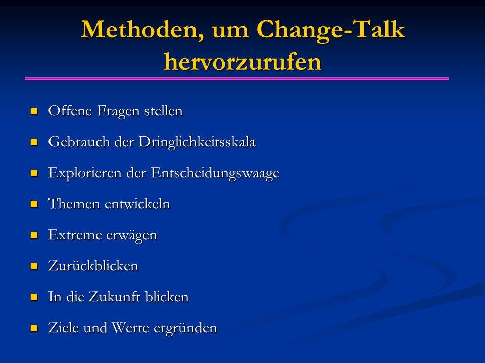 Interventionen zur Verstärkung von Change-talk Change-Talk entwickeln Change-Talk entwickeln Change-Talk reflektieren Change-Talk reflektieren Change-Talk zusammenfassen Change-Talk zusammenfassen Change-Talk bestätigen Change-Talk bestätigen  Achtung: Bei klassischen Entscheidungsproblemen in non-direktiver Weise auf change-talk antworten!