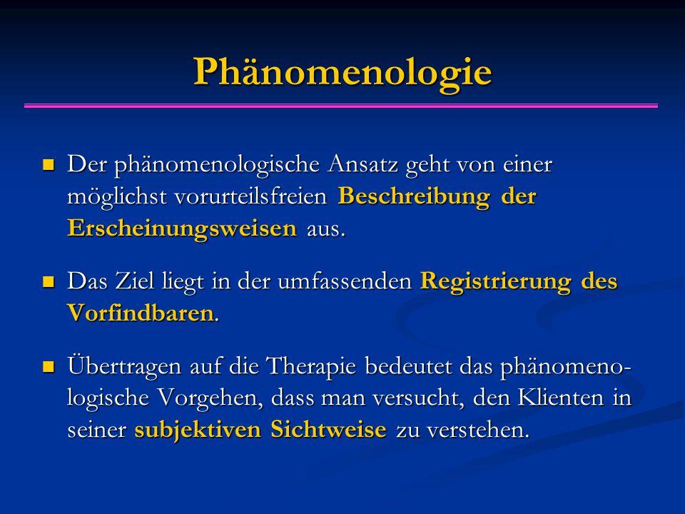 Ph ä nomenologie Der phänomenologische Ansatz geht von einer möglichst vorurteilsfreien Beschreibung der Erscheinungsweisen aus.