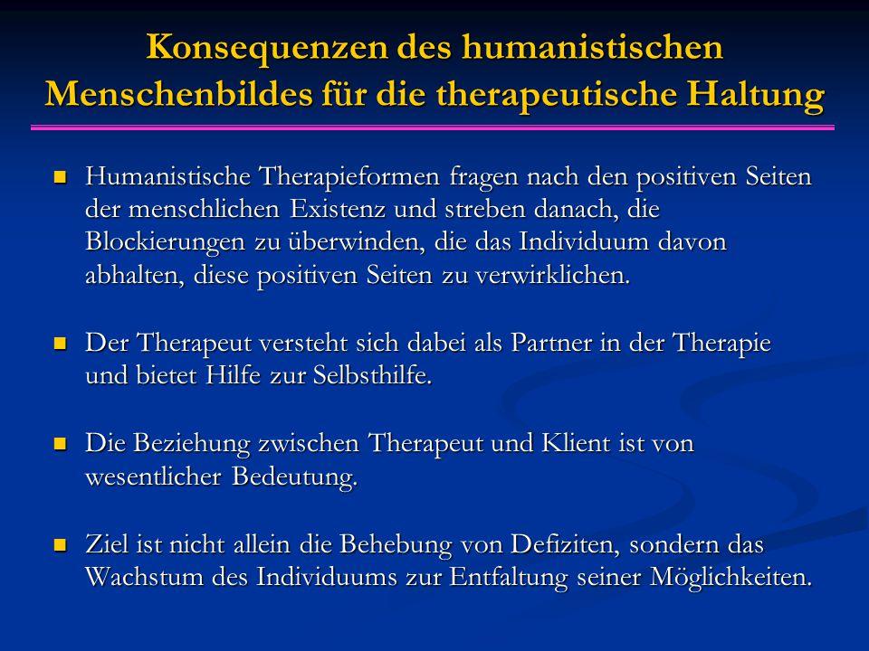 Konsequenzen des humanistischen Menschenbildes f ü r die therapeutische Haltung Humanistische Therapieformen fragen nach den positiven Seiten der menschlichen Existenz und streben danach, die Blockierungen zu überwinden, die das Individuum davon abhalten, diese positiven Seiten zu verwirklichen.