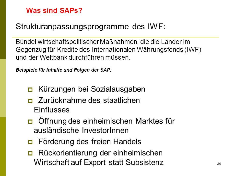 20 Was sind SAPs?  Kürzungen bei Sozialausgaben  Zurücknahme des staatlichen Einflusses  Öffnung des einheimischen Marktes für ausländische Investo