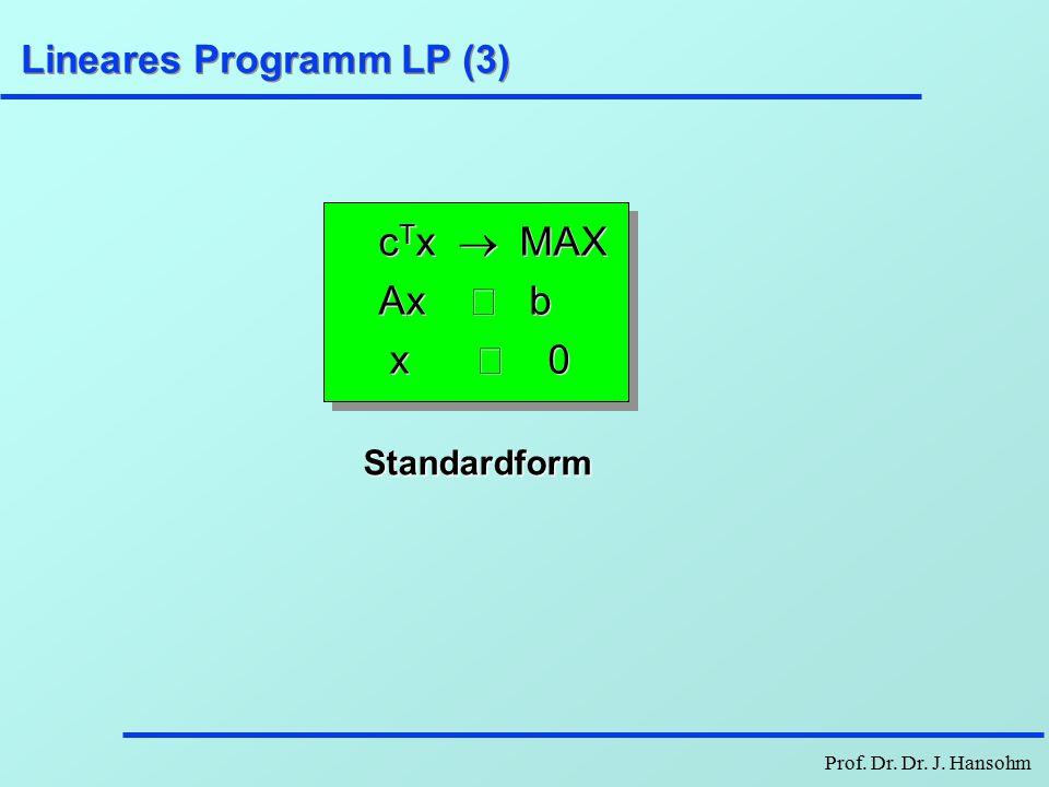 Prof.Dr. Dr. J. Hansohm Lineares Programm LP (2) c 1 x 1 +...