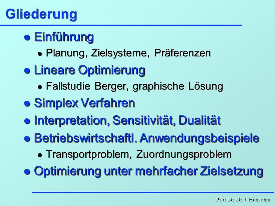 Prof.Dr. Dr. J. Hansohm Lineare Optimierung Hauptstudium Mathematische Planungsmethoden Umfang ca.