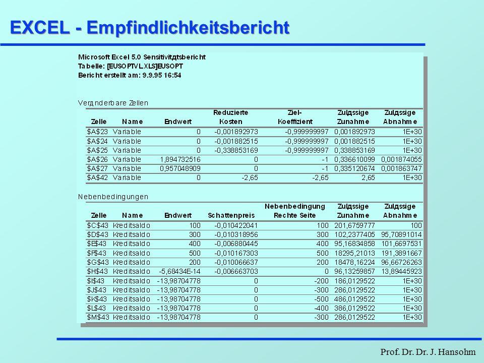 Prof. Dr. Dr. J. Hansohm EXCEL-Antwortbericht